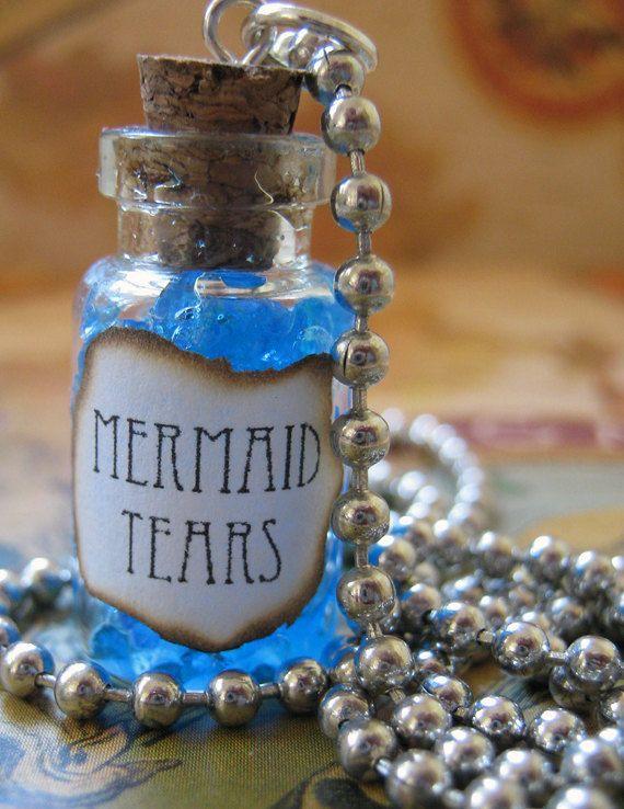Mermaid Tears 1ml Glass Bottle Necklace Charm - Mermaid's
