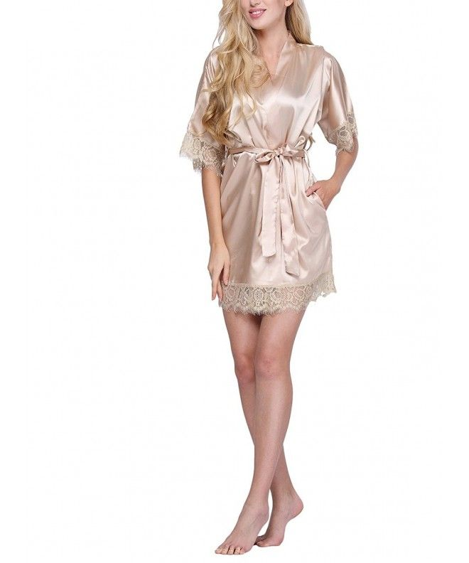e603461e1ca0 Women s Lace-Trimmed Satin Short Kimono Robe Bathrobe Loungewear - See the  Picture - CG12FYZRM7L