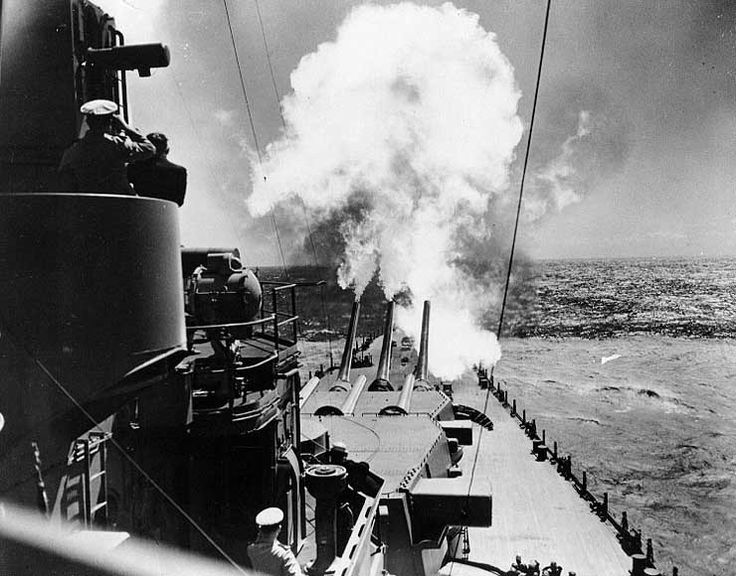 Battleship USS North Carolina firing her forward guns during trials, 26-27 Aug 1941. (US Navy photo)