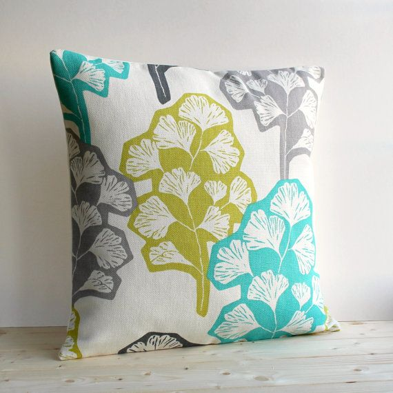 I need some pillows incorporating aqua, chartreuse, white and brown. Contemporary Pillow Cover 16x16 Inch Modern Cushion Cover 16 Inch Pillow Sham - Gingko Fresh on Etsy, $23.50