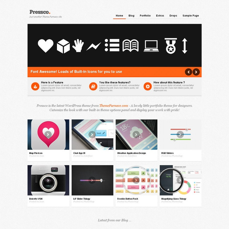 Pressco is a very clean and tidy portfolio style theme for businesses or freelancers to show off their work. The theme has a nice minimal style with a portfolio section for your work and a normal blog section along with custom page templates. It has multiple sidebars and widgetized areas so you can customize it for your content and also makes use of WordPress built-in background upload facility.