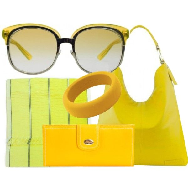 Add some sunshine to your outfit. Gucci sunglasses, Manzoni leather bag, Valentino scarf, Allora leather wallet and Nibbly Bits silicone bangle.