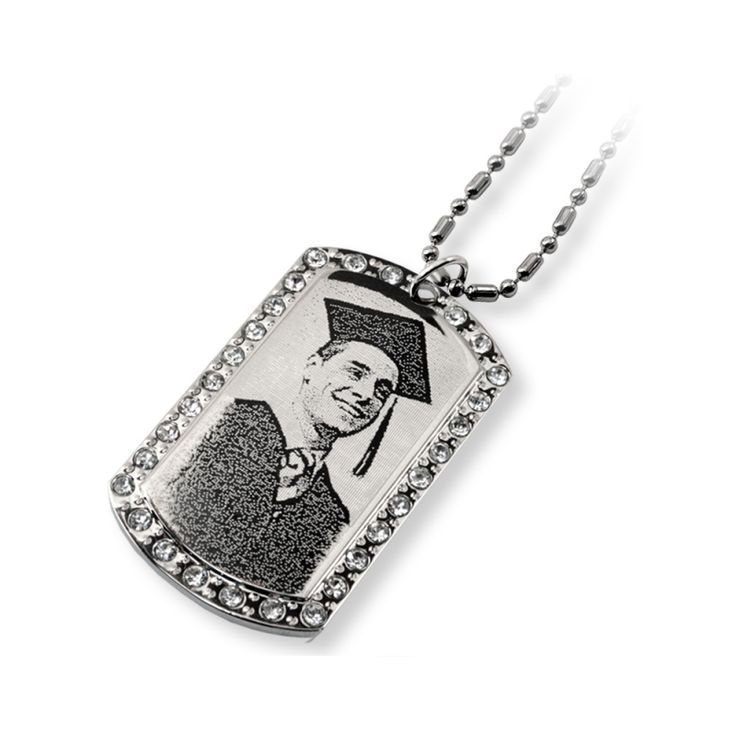 Photo Engraving Oblong Pendant with Crystals - All we need is your photo! And we'll engrave the photo right onto this pendant. It lasts forever!  This oblong pendant measures 29 mm x 50 mm and comes with a FREE 15 inch chain which can be resized.  Give that special someone a gift that will last a lifetime.