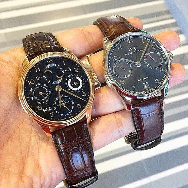 IWC Portuguese Portuguese Perpetual Calendar automatic in Rose gold Portuguese 7Days Automatic in White gold สภาพด กลองใบครบ สนใจสอบถามราคาและขอมลเพมเตมไดท Call/whatapp (66) 87-8007799 Line: jum_sloane Shop: Sloane/Time Collection1F Fashion Zone Soi 6 SQ1 Mall Siamsquare Bangkok @sloane_siamsquareone…