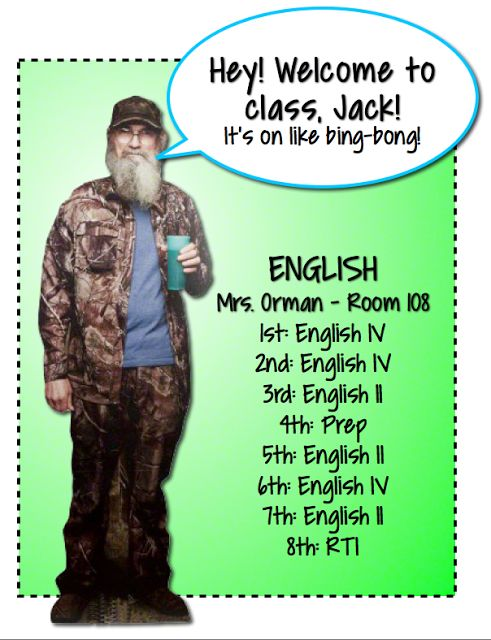 """Si says, """"Welcome to class, Jack!"""" #DuckDynasty Click to read more about connecting with your students."""