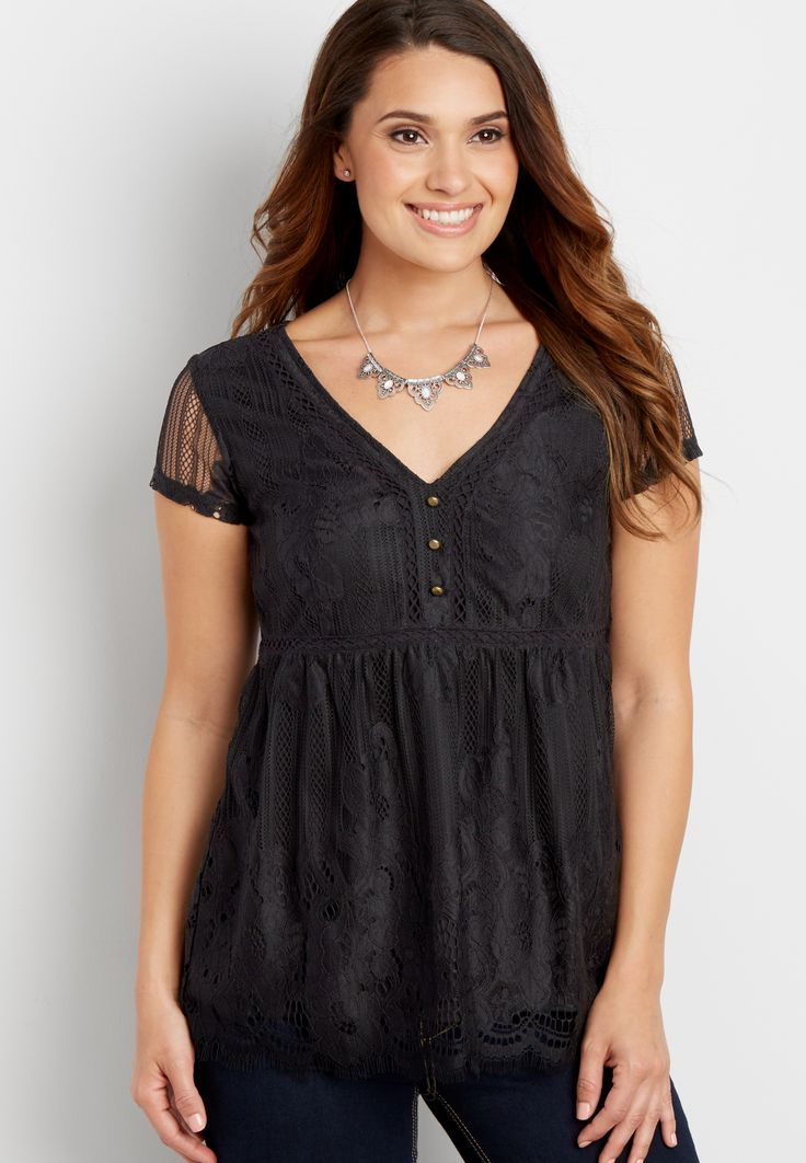 lace top with v-neckline (original price, $26.99) available at #Maurices