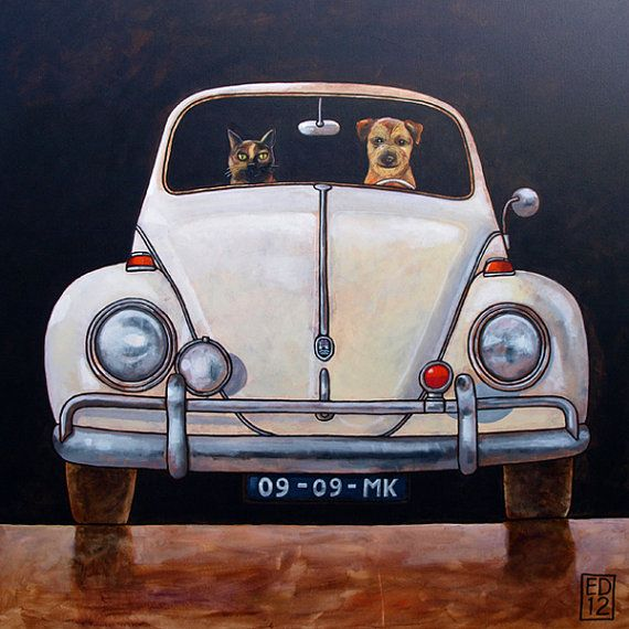 176 VW Beetle classic front   signed and numbered giclee by edart, $18.00