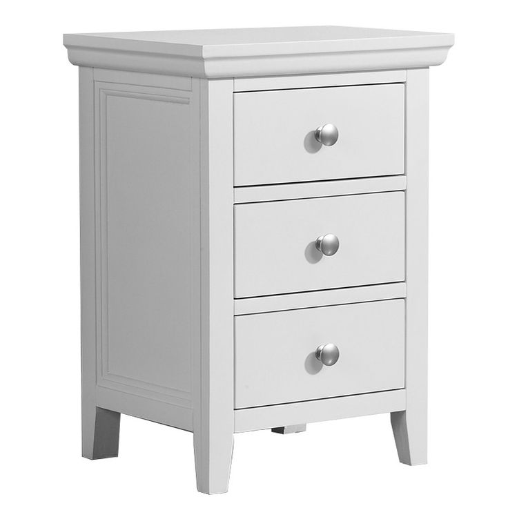 Best Mountrose Venice Solid Wood White 3 Drawer Bedside Table 400 x 300
