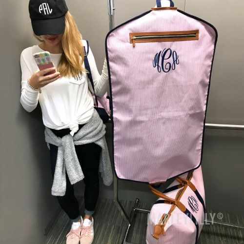 *NEW* Monogrammed Seersucker Garment Bags! The ultimate preppy travel essential. Available in pink, blue, and tan.