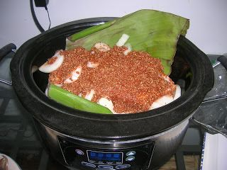 Cochinita Pibil in the slow cooker.- use bayless recipe