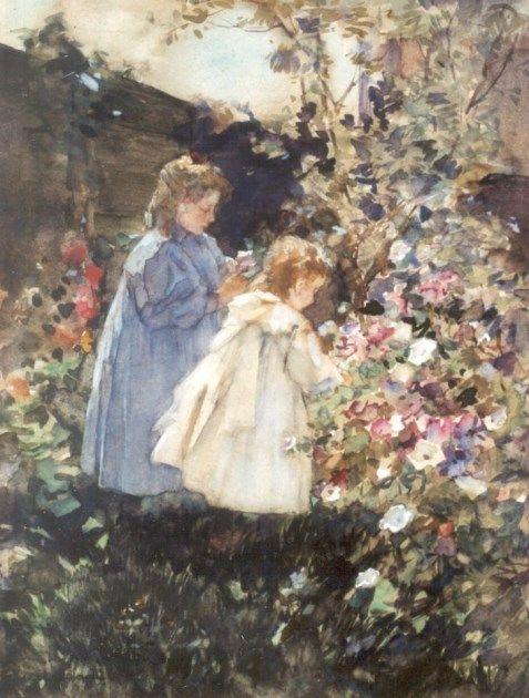 'Johannes Evert' Hendrik Akkeringa (Blinjoe (Nederlands-Indië) 1861-1942 Amersfoort) In de tuin van de schilder, Den Haag - Kunsthandel Simonis en Buunk, Ede (Nederland).