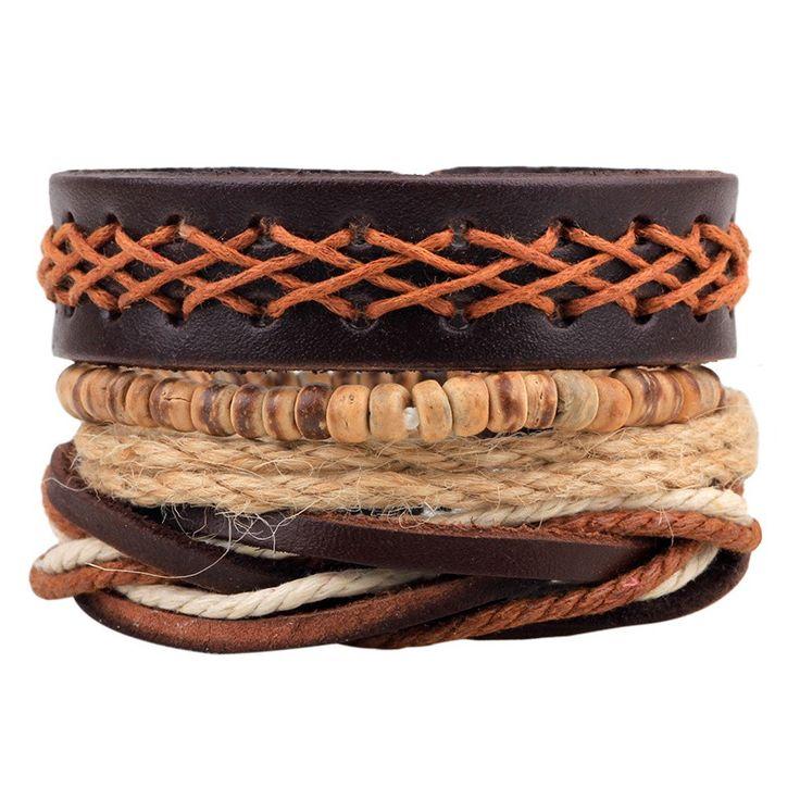 Rope and Leather Bracelet 1Set (3-4PCs) Men/Women. Limit 3 per Visitor.