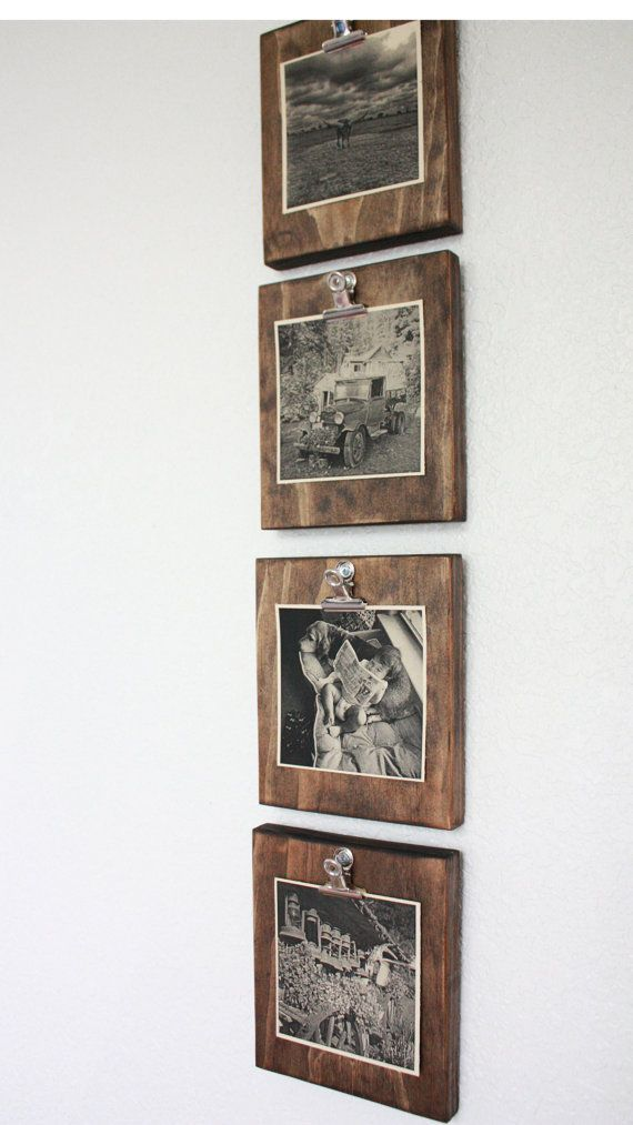 Set of FOUR (4) Rustic Wall Clip Frame, Picture Display, Instagram Picture Frame, Square picture Frame, Rustic Home decor