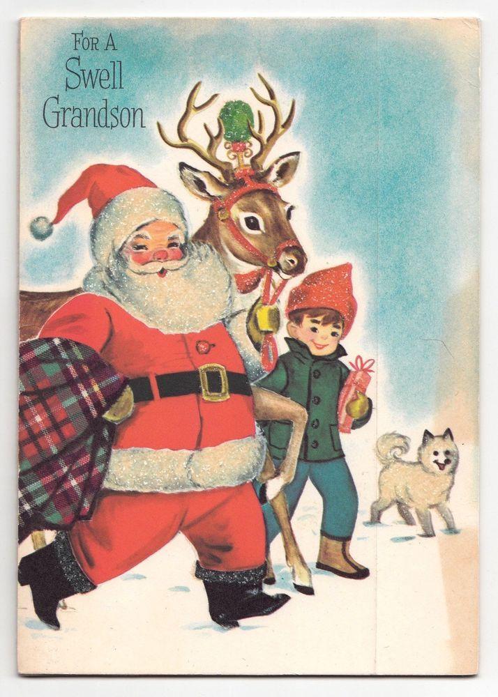 Vintage Greeting Card Christmas Santa Claus Reindeer Boy Dog Pop-Up Inside