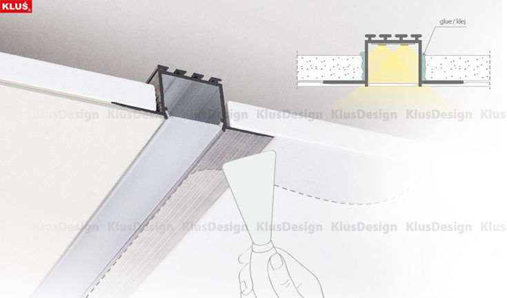 KOZEL extrusion is designed for mounting in drywall. It makes a LED fixture that creates a line of light in wall and ceiling surfaces with no aluminum parts showing.
