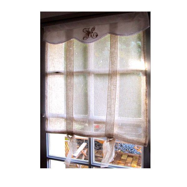 Sheer French Door Curtain, 76 inch Victorian Embroidered Monogram, Linen Roller Shade, Fleur de Lis Ecru French Sash Window, Tie up Panel by HatchedinFrance on Etsy https://www.etsy.com/listing/211356301/sheer-french-door-curtain-76-inch