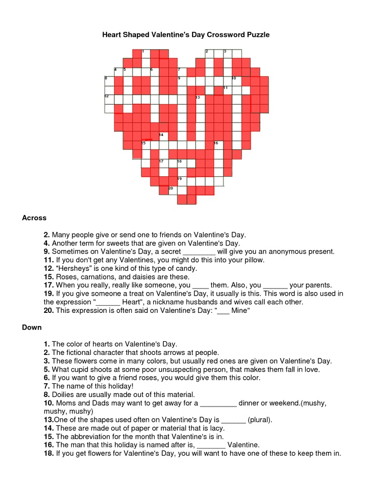 Smart image with valentine's day crossword puzzle printable