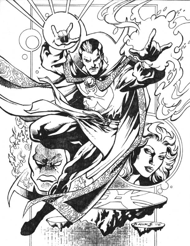 Docter Strang Marvel Heroes Coloring Pages