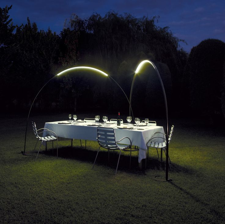 For lighting brand Vibia, Jordi Vilardell and Meritxell Vidal designed a different kind of outdoor lamp, one that looks like a comet flying overhead.