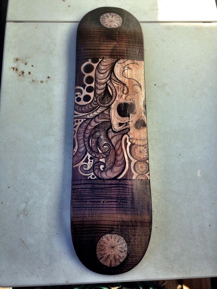 Skateboard I Designed For My Broskee Laban. Sharpie, Watercolors, Modge  Podge, I