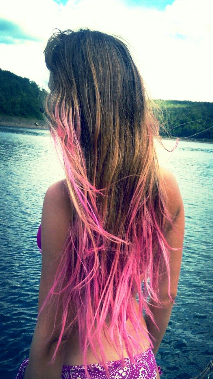 Pink ombre dip dyed hair color
