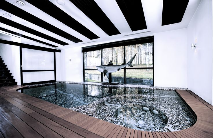 Spa area, private home in Tampere Finland; Swimming pool and hot tub, Teak floor