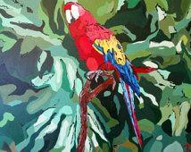 Papagei im Dschungel Regenwald zu drucken, der original Acrylbild