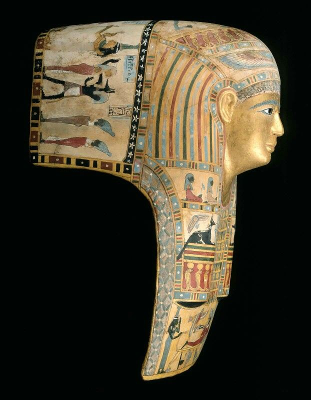 Painted and gilded cartonnage, with inlaid glass mummy mask. Roman Imperial Period. A.D. 1–50 | Museum of Fine Arts, Boston