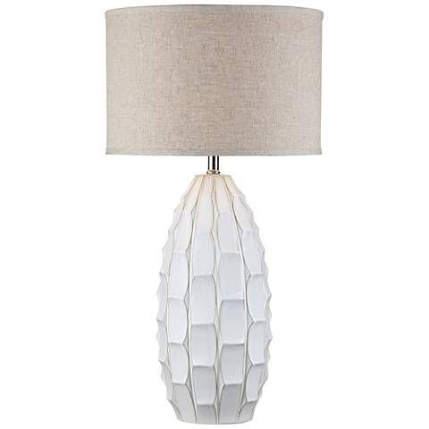 Possini Euro Jetson White Ceramic Table Lamp   #17V23   Lamps Plus