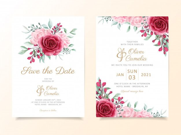 Wedding Invitation Card Template Set With Floral Bouquet And Border Wedding Invitation Card Template Wedding Invitation Cards Floral Wedding Invitation Card