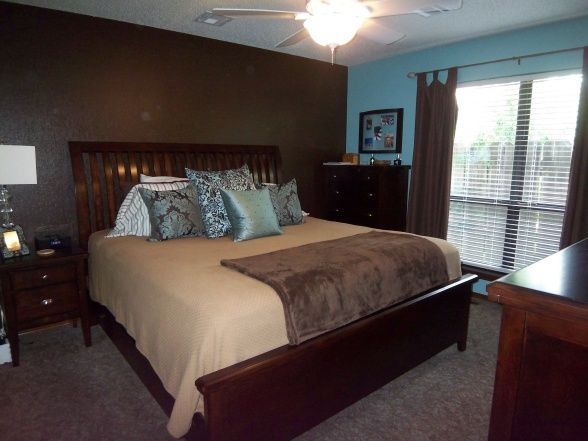 Blue Brown Master Bedroom Like The Accent Wall But In A Lighter Blue