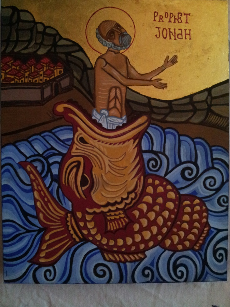 Prophet Jonah, handwritten icon. Made on wood, egg tempera and genuine gold leaf.   This icon is for sale.   Orders welcome.