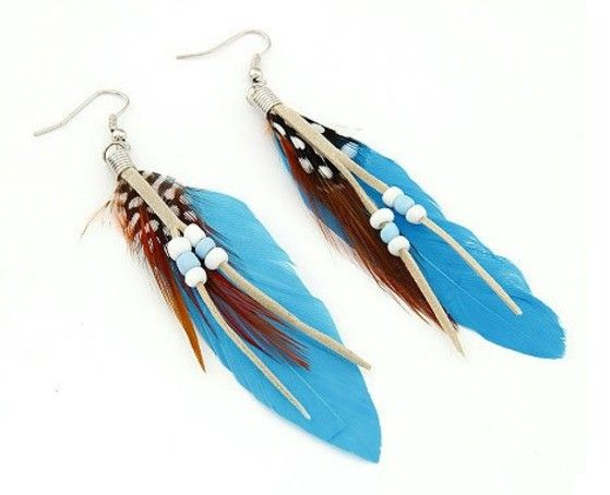 Shopo.in : Buy Blue Feather Earrings online at best price in Kolkata, India