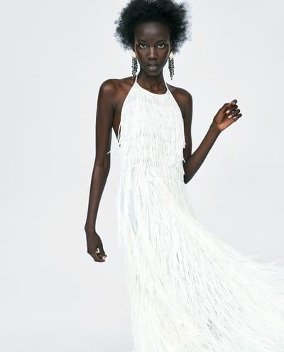 ad23a3e1 Image 2 of HALTER DRESS WITH FRINGING from Zara | The Rehearsal ...