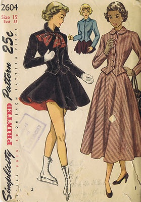 Vintage 40s Three Piece Skating Ensemble Includes Jacket Skirt and Pants and Two Piece Suit Pattern    The basque Jacket, styled with a round collar and long sleeves, may be secured with a button or slide fastener closing.  The softly flared Skirt pattern joins to a waistband.  In style 1, center front and back seams are featured on the Skirt.  In style 2, the Pants and short Skirt are lined.