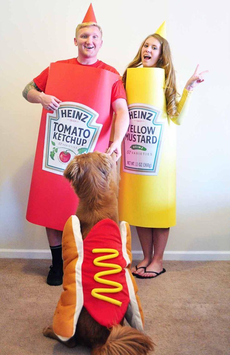 Ketchup, Mustard, Hotdog DIY Halloween Costumes (With