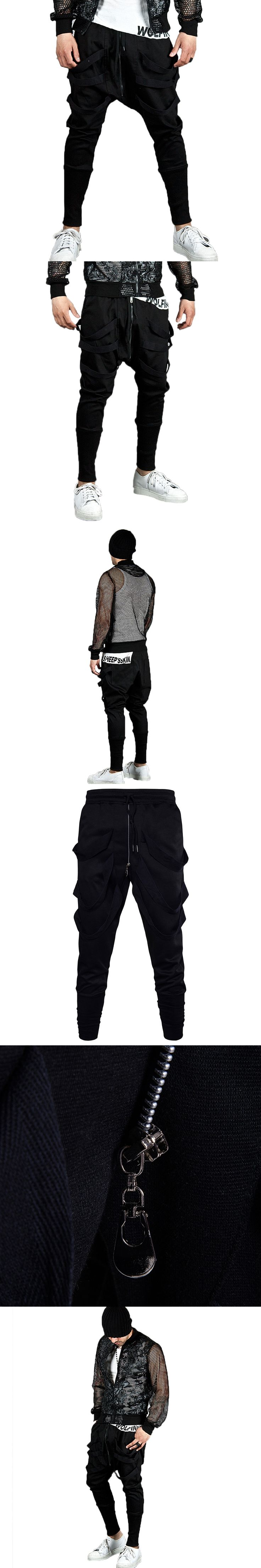 Black Personality Zipper Designer Mens Sweatpants Low Crotch Harem Pants Loose Casual Hip Hop Streetwear Drawstring Man Trousers