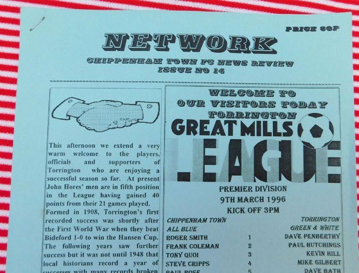 Old 1990s Football programme Chippenham Town v Torrington 9 3 1996 Great Mills Premier