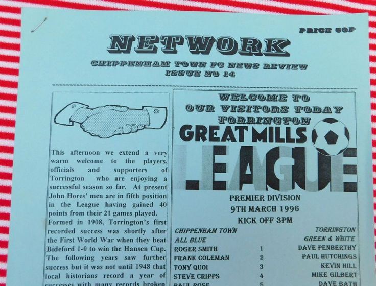 Old 1990s Football programme Chippenham Town v Torrington 9 3 1996 Great Mills Premier