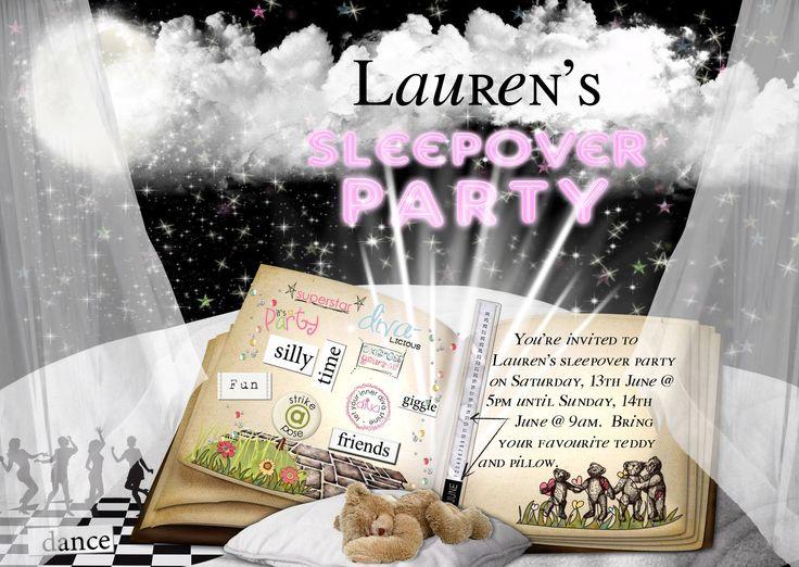 Lolly's Sleepover Party invite