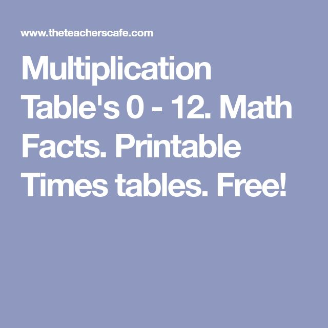 Multiplication Table's 0 - 12. Math Facts. Printable Times tables. Free!