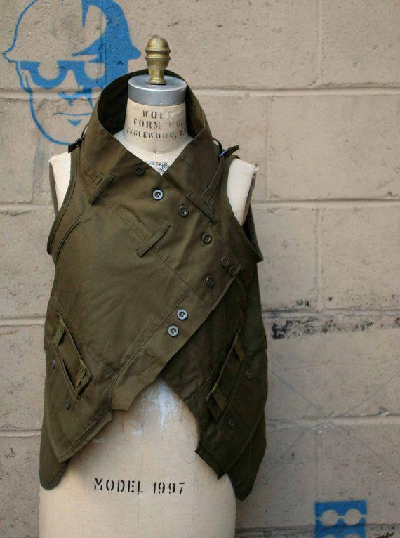 Damen Oberbekleidung militärische Weste Herbst Mode Army von artlab