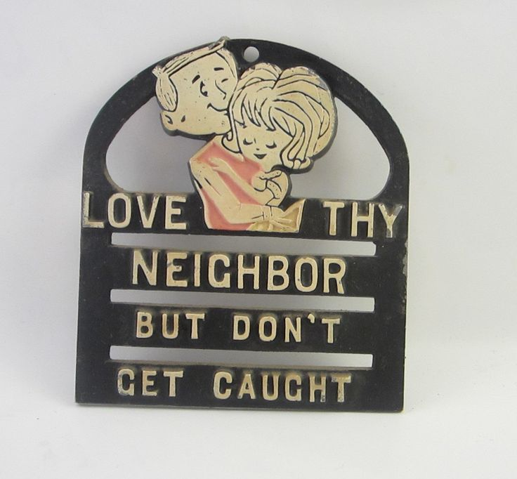 "Vintage Faux Cast Iron Trivet ""Love Thy Neighbor, but Don't Get Caught"" by RockingRetroRarities on Etsy"