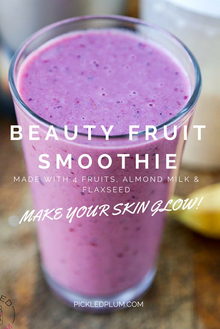 Recipe - Beauty Fruit Smoothie - made with banana, fresh pineapple, mixed berries, kiwi, almond (or soy) milk and ground flaxseed. Drink this smoothie every morning and watch your skin glow! http://www.pickledplum.com/beauty-fruit-smoothie-recipe/