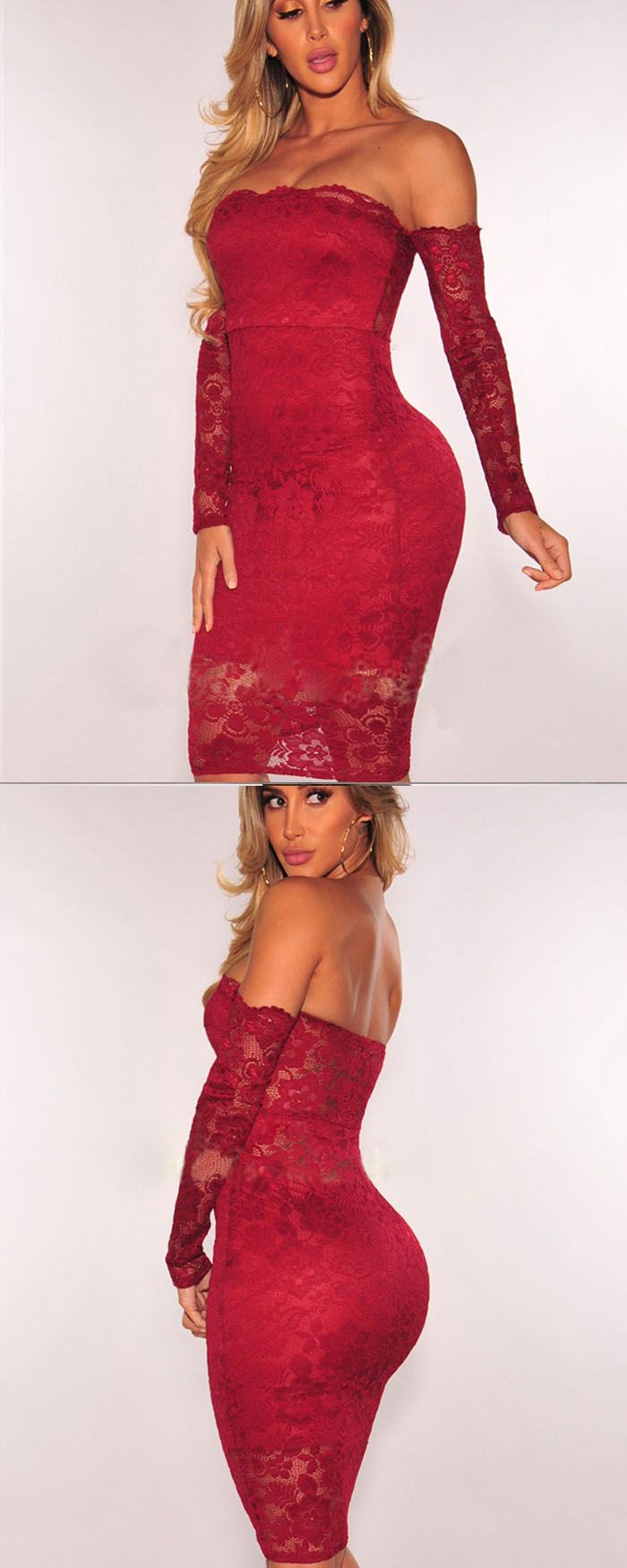 219be5c4870 Strapless Red Lace Bodycon Knee Length Clut Dress with Long Sleeves ...