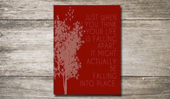 Falling into Place - Typography Print - Fall - Autumn - Trees - Wall Decor  - Leaves Falling - Happy Fall Yall on Etsy, $5.00