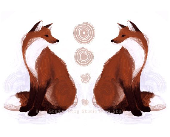 Tribal Foxes Print Red Fox Illustration Animal Art by RoxyStudio, $16.00