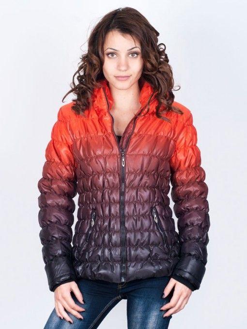 Geaca dama Fashion de iarna neagra rosie