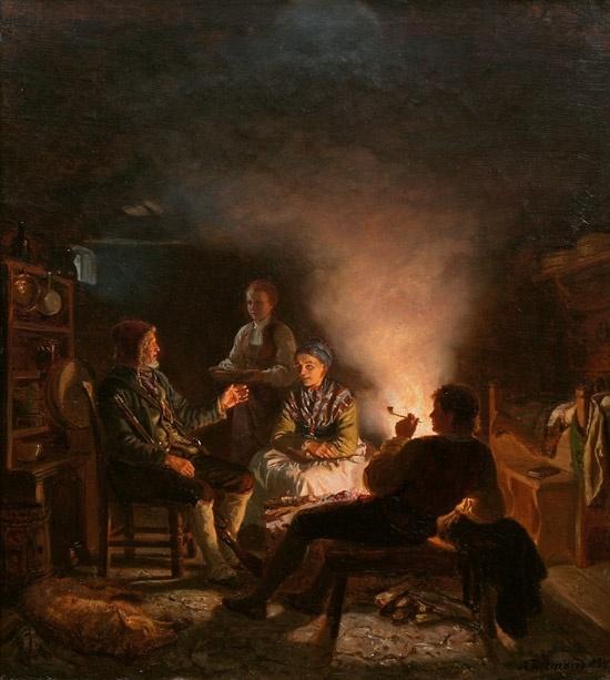 Adolph Tidemand (1814–1876): Ulvejegere på seteren, 1854