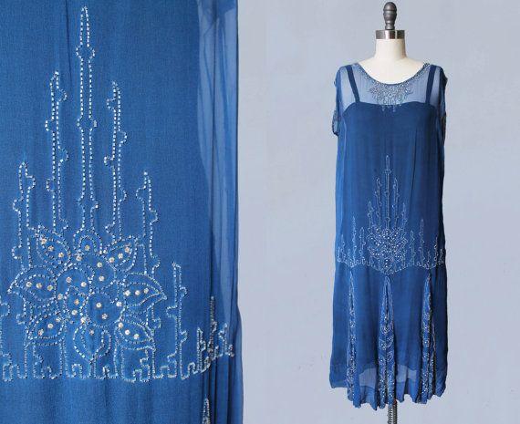 1920s Dress / Bright Blue Sheer Silk Chiffon par GuermantesVintage                                                                                                                                                                                 Plus